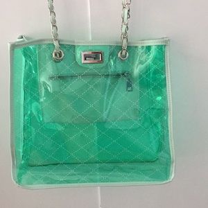 Translucent clear pvc green tote bag chain handle